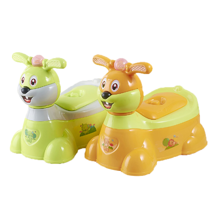 Baby Toilet Cartoon Rabbit Musical Kids Plastic Baby Toilet Trainer Girls Boy Comfortable Potty Travel Potty Children's Toilet penguin style baby potty toilet trainer