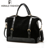Herald Fashion Winter Style Women PU Leather Handbag Fashion Nubuck Messenger Bag Vintage Shoulder Bag Large