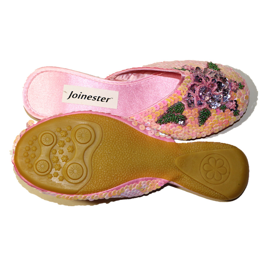 Ladies Sequins Slippers Women Outdoor Flat Slipper Silk and Satin Home Shoe Sparkling Fashion Mules Woman Vintage Summer Slides 1