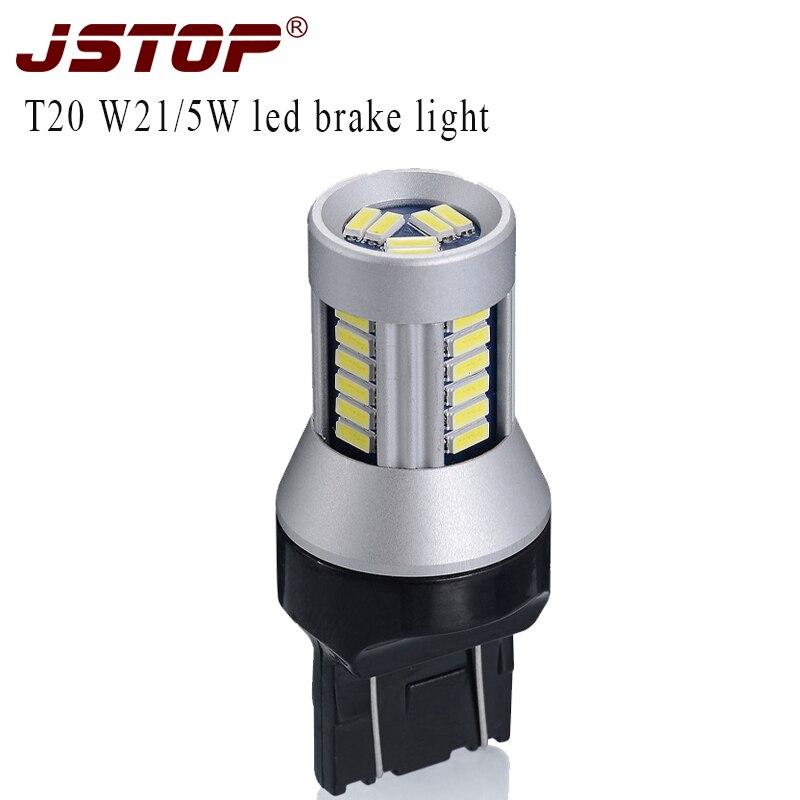 Jstop CX-5 coche 12 V lámparas LED T20 7443 CANbus rojo coche bombillas LED 7443 luces 12VAC T20 W21/ 5 W lámpara auto 580 bombillas de freno