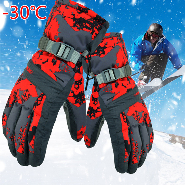 New Men's Ski Gloves Fleece Snowboard Gloves Snowmobile Motorcycle Riding Winter Gloves Windproof Waterproof Unisex Snow Gloves