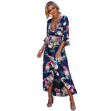 Ruiyige 2018 Summer Floral Print Maxi Dress Sexy Deep V Split  Holiday Dresses Bandage Women Flare Sleeve Long Bench Vestidos