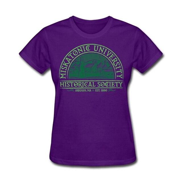 Повседневная женская Miskatonic Исторического Общества Хлопок Футболки Шею O T Shirt