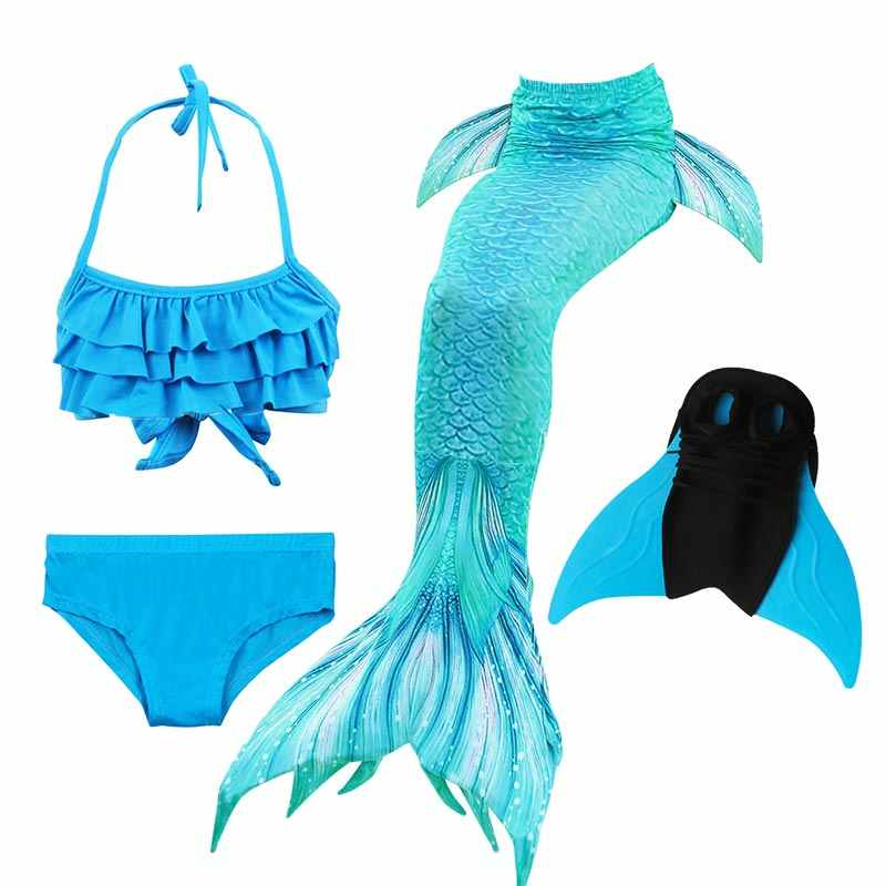 9be52df8160 ... 14 Colors Girls Swimming Mermaid Tail with Monofin Bathing Suit  Children Ariel the Little Mermaid Tail ...