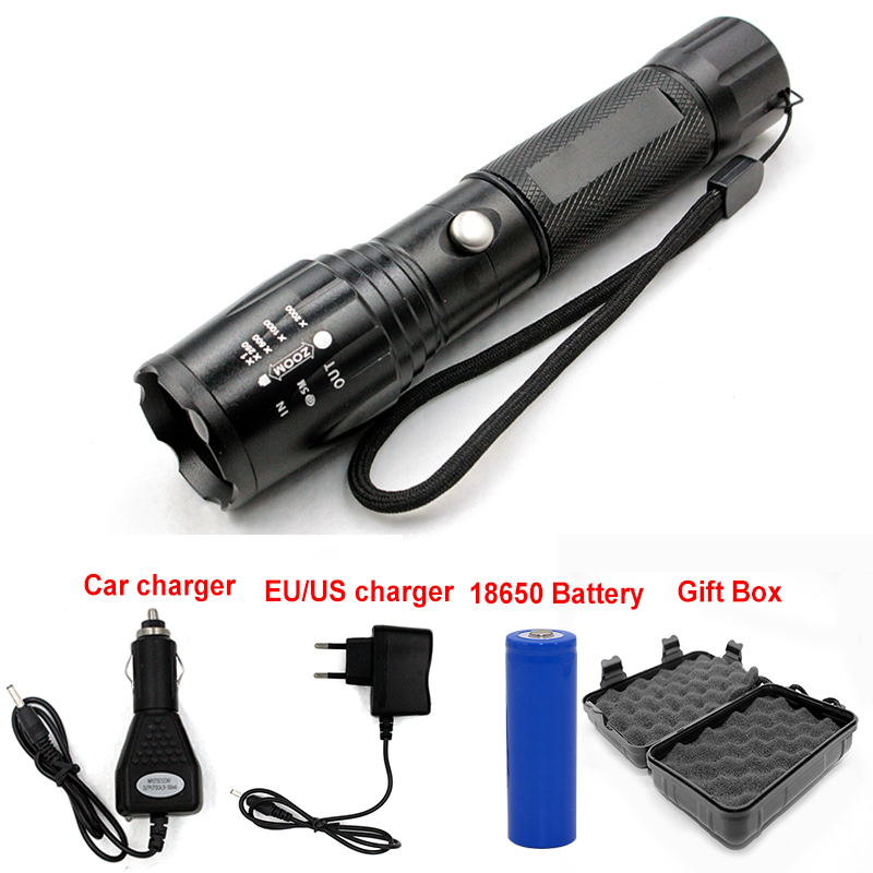 Adjustable 3800 Lumen Cree XML T6 Waterproof Led flashlight torch light by Black Gift box + charger + 18650 rechargeable battery 502b led flashlight waterproof torch cree xml t6 chip 2000lm 1 18650 rechargeable battery universal charger protection box