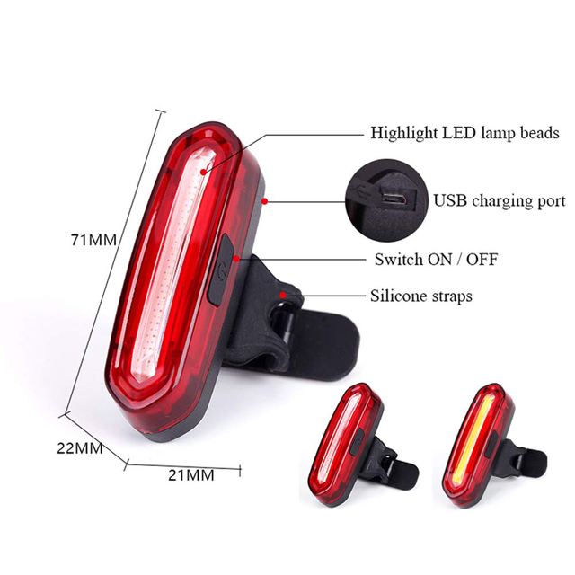 120 Lumens Rechargeable USB Bicycle Light Cycling Taillight LED Waterproof MTB Road Bike Tail Lamp Rear Light for Bicycle