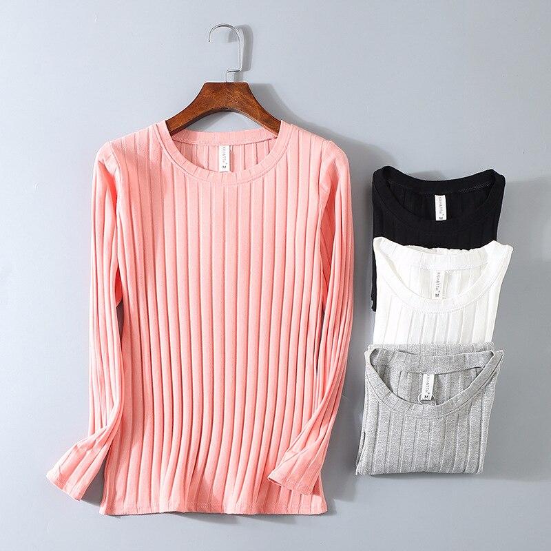 Nervuras KT01 Primavera Listrado Camisa Elástica T Mulheres Top Casual Camisa de Manga Longa de Algodão T-shirt Tops de Malha Blusas Plus Size