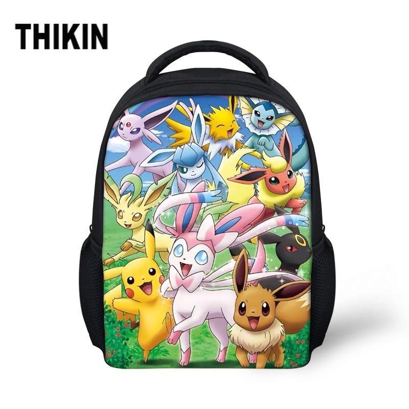 THIKIN hot Pokemon Bikach Small School Bag For Baby Boy Girls Cute Cartoon Backpack Children Kids Bookbag Kindergarten Schoolbag in School Bags from Luggage Bags