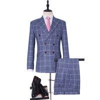 Двубортный Свадебный костюм смокинг для жениха 6 Цвет дружки костюм Индивидуальный заказ человек костюм клетчатые костюмы куртка + Штаны + ж