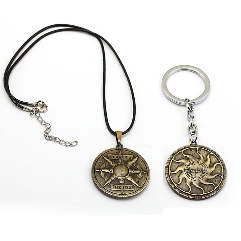 New Dark Souls Keychain Praise The Sun Metal Shield Key Ring Holder Rape Chain Pendant For Women Men Jewelry Chaveiro Porte Clef