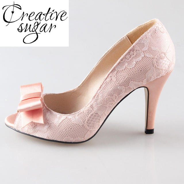 6ec85738fd1c Creativesugar Handmade peachy nude light coral blush lace heels sweet bow  pumps watercolor theme wedding open toe dress shoes