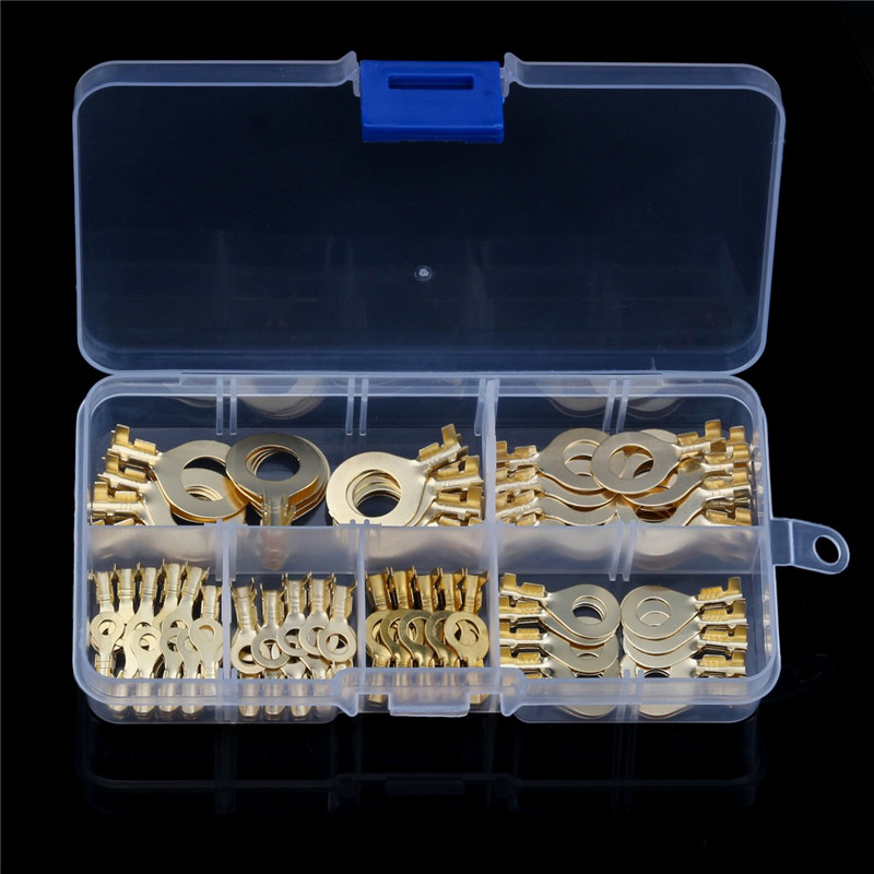 цена на YT 150pcs Brass Ring Cable Lug Gold Golden Non-insulated Ring Eyes Wire Connector For Household Appliances with Box 3.2mm-10.2mm