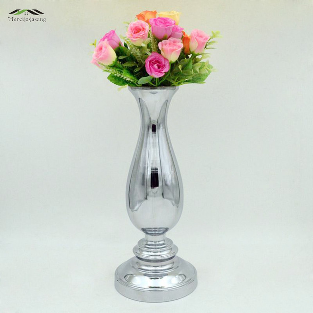 Vase Mit Blumen 2 teile los silber metall hochzeit blume vase tafelaufsatz für