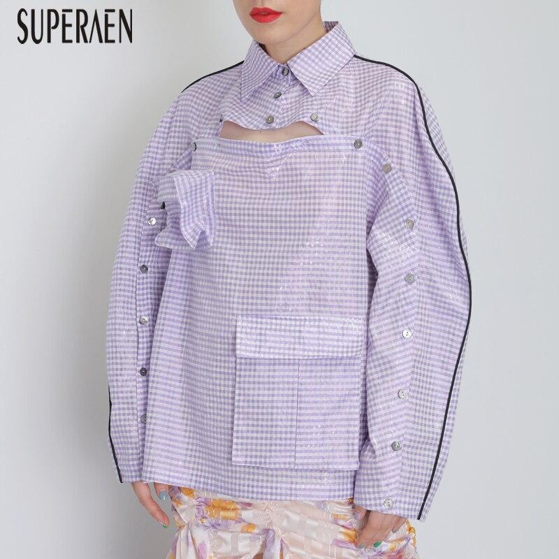 SuperAen جديد 2019 المرأة قميص طويل الأكمام القطن عارضة السيدات البلوزات و قمم جيب أوروبا أزياء البرية النساء الملابس-في بلوزات وقمصان من ملابس نسائية على  مجموعة 1