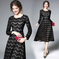 2018 Women Spring New Fashion Elegance Stripe Openwork Lace Floral Patchwork Dress Vintage Sexy Long Sleeve
