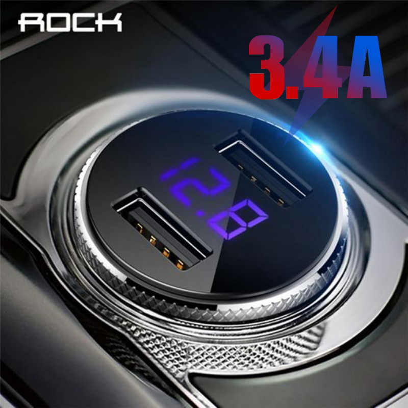 Rock Usb Autolader 3.4A Led Digitale Display Metalen Dual Universele Usb Auto-oplader Adapter Voor Iphone 7 8 X xr Max