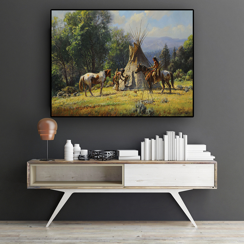 Abstract Native Indian Horse Figure Oil Painting on Canvas Cuadros Posters and Prints Wall Art Picture for living room(China)