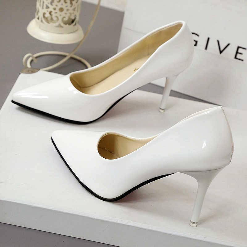 2019 חם נשים נעלי הבוהן מחודדת משאבות פטנט עור שמלת נעליים גבוהה עקבים סירת נעלי חתונה נעלי Zapatos Mujer 10 cm/7 cm