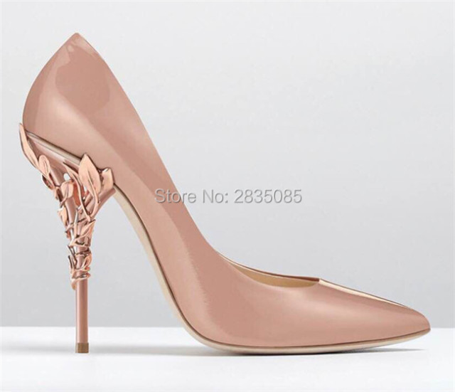 c8d5ddaa9ee0 Sapato Feminino 2018 Filigree Leaves Rose-gold Eden Heel Pumps Pointed Toe  Sexy High Heels Stunning Bridal Wedding Shoes Woman