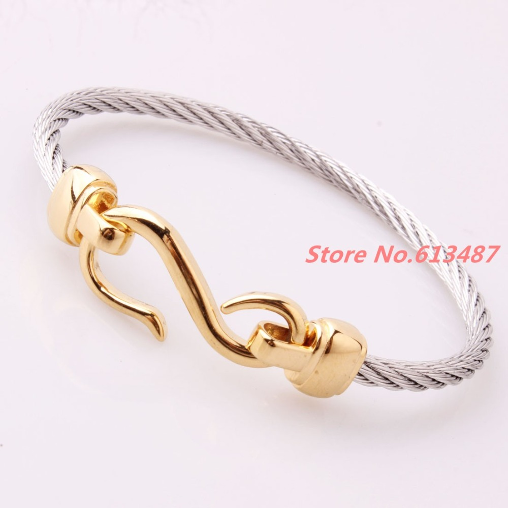 Top Design 4mm 316L Stainless Steel Twisted Cable Wire Silver Gold ...
