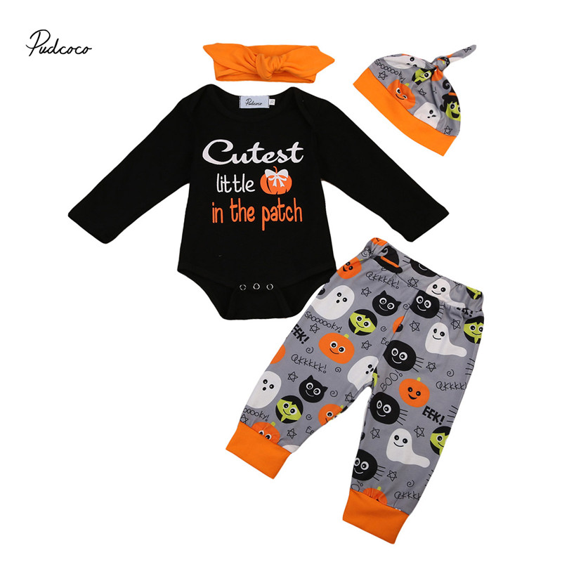 2017 New Style Halloween Toddler Baby Boy Girls Clothes Long Sleeve Romper +Pants +Hat+Headdress 4pcs Outfits Clothes Set