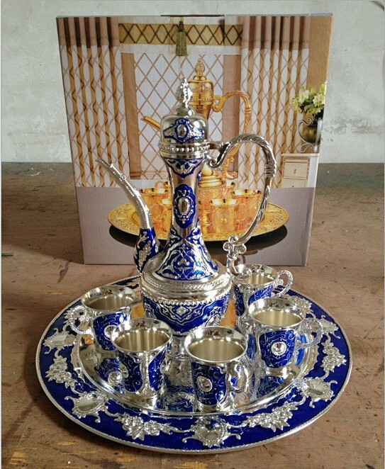 Free shipping silver finish with blue color metal Sherbet set/tea set, fashion zinc alloy Sherbet set, 1 set= 1 plate+ 1 pot +6 cups