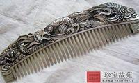 Coleção de Antiguidades chinês cobre esculpido dragão e phoenix Pente/2