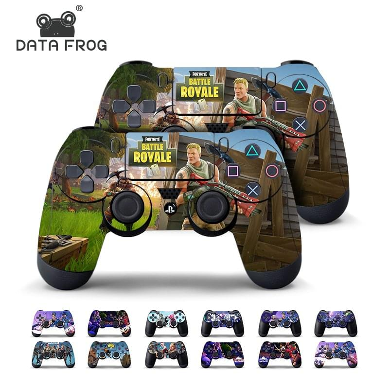 Data Frog 2 Pcs Fortnite Sticker For Sony PlayStation 4 PS4 Game Controller Skin Stickers Decal
