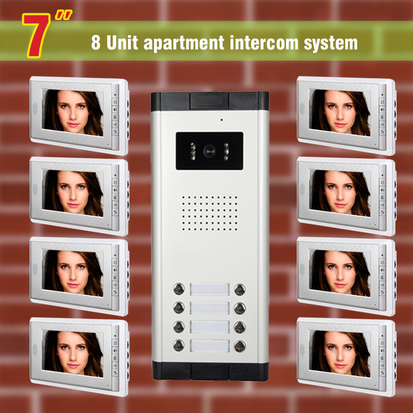 8 units Apartment Video Intercom System 7 Inch Monitor Video Door Phone doorbell kit for apartment visaul intercom entry system apartment intercom system 7 inch monitor video door intercom doorbell kit 8 units apartment video door phone interphone system
