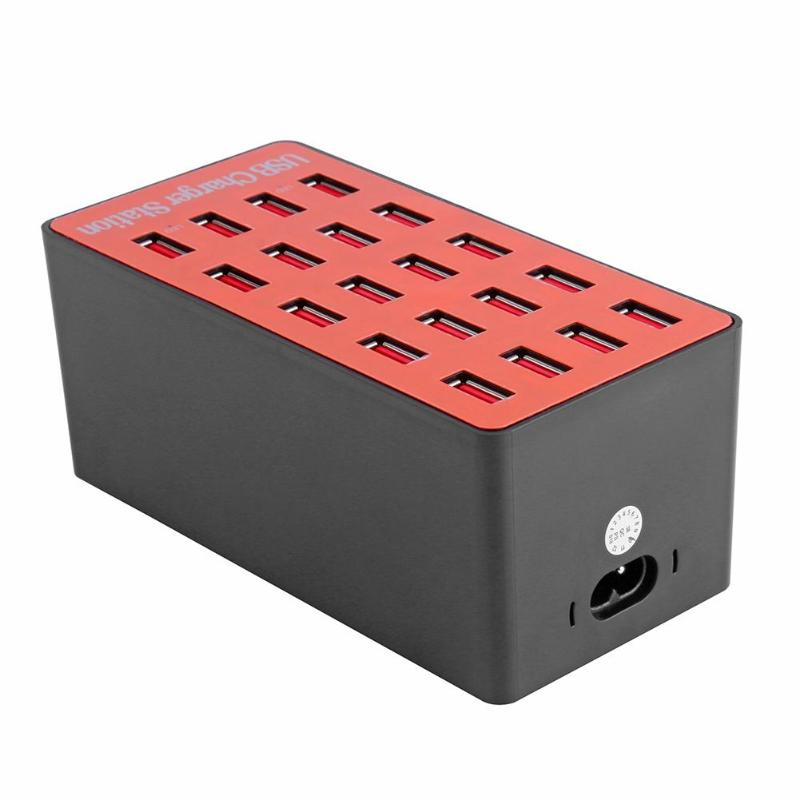 New USB Hub 100W 20 Port USB Hubs With Wall Charger Adapter Smart Charging Station Auto Detect Tech & Foldable Plug for Charging
