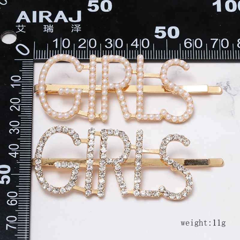 Trendy Jewelry Hair Clip Women Rhinestone Faux Pearl Capital Letters Hairpin Geometric DIY Styling One Word Barrettes Accessory