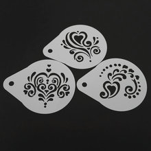 LUC 2.8 Inch 3pcs/set Cappuccino Coffee Stencils Template Strew Flowers Barista Tools Kitchen Accessories