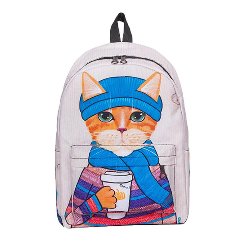 xiniu Cute Cat Backpack School Women Backpacks Girls Funny Cats Canvas Shoulder Bag Backpacks Womens mochilas mujer 2017 maoxin cute cat head finger grip metal ring kickstand for smartphones blue cats