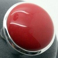 جديد ريال الطبيعية النادرة الأحمر المرجانية 24 ملليمتر الرجال 925 فضة حجر باند خاتم الحجم 7/8/9/10 # مجوهرات الزفاف خاتم