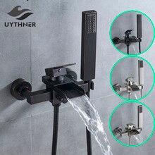 Uythner кран для ванной комнаты с Одной ручкой Водопад Носик Смеситель кран с ручной душ настенный смеситель для ванны кран для ванны