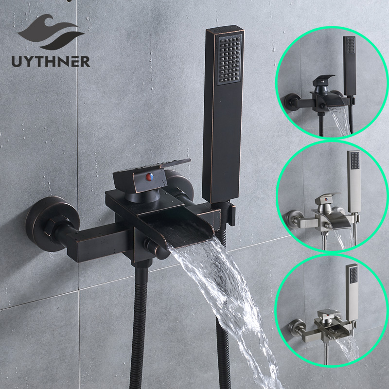 Uthyner Bathroom Tub Faucet Single Handle Waterfall Spout Mixer Tap with Handheld Shower Wall Mounted nickel brushed waterfall tub spout bath shower mixer faucet wall mounted single handle bathroom shower faucet with handshower
