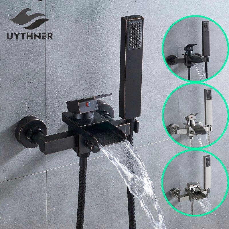 Uythner wanna kran pojedynczy uchwyt wodospad wylewka Mixer Tap z ręką prysznic montowany na ścianie kran do wanny bateria do wanny w Baterie do wanny od Majsterkowanie na AliExpress - 11.11_Double 11Singles' Day 1