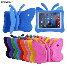 Carry360 3D Butterfly Kids' Case for Apple iPad 2 3 4 9.7 inch EVA Shock Proof Stand Tablet Cover with Handle Kids Friendly