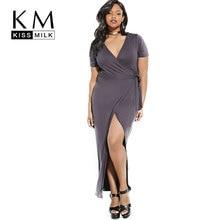 kissmilk, 2017 Women's Deep V Neck Side Split Maxi Dress Cocktail Prom Dresses Plus Size Bodycon Belted Wrap Long Dress v neck printed plus size maxi prom dress