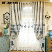 European-style curtains for living Sitting Room Curtain Cloth Embroidered Floating Window Screen Shading Modern Bedroom Drapes