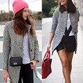 Новая Европа Элегантных Женщин Зимняя Шерсть Пальто Плюс Размер Серый Теплый Хлопок Траншеи Laides Бархатные Толстые Куртки Длинном пальто