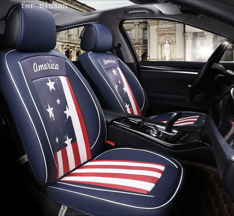 BABAAI flag pattern pu leather car seat cover for nissan qashqai j11 x-trail t32 nissan juke tiida front rear full universal car car genuine leather steering wheel cover for bluebird sunny pathfinder pickup teana tiida sylphy geniss cefiro x trail cc nissan