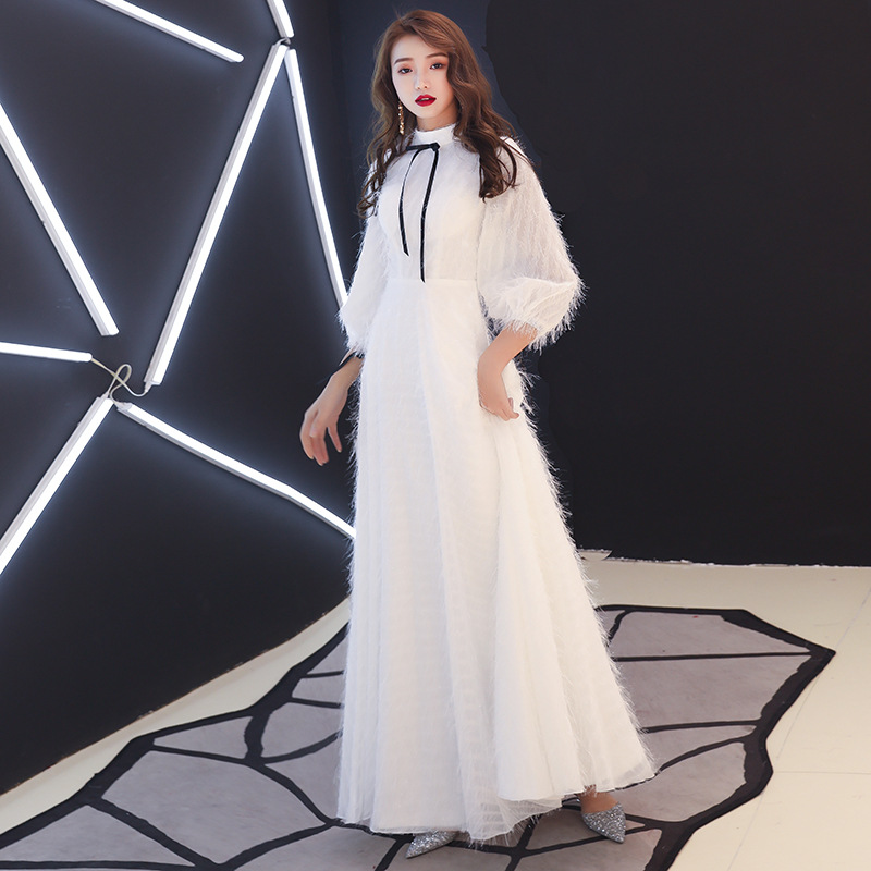 Beauty Emily Prom Gowns White Simple High Neck Three Quarters A-line Floor Length Customized Party Long Prom Dresses