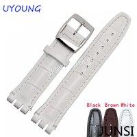 Chất lượng cao sang trọng đen nâu 17 mét 19 mét không thấm nước genuine leather watch strap nhạc cho swatch alligator pattern leather vành đai