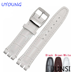 High Quality Luxury Black Brown 17mm 19mm Waterproof Genuine Leather Watch Strap Band For Swatch Alligator Pattern Leather Belt