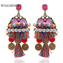 WNGMNGL 2018 New Boho long earring hanging drops tassels for women ethnic statement dangle Jewelry Colourful bijouterie