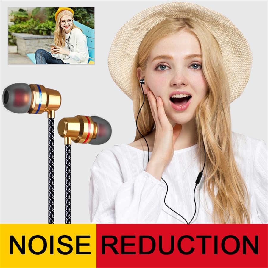 Briame słuchawki przewodowe douszne 3.5mm w ucho słuchawki douszne słuchawka z mikrofonem Stereo zestaw słuchawkowy 5 kolor dla Samsung Xiaomi telefon komputer