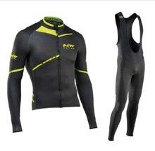 NW 2019 nefes bisiklet giyim seti Northwave uzun kollu yaz Jersey erkek takım elbise açık sportif bisiklet MTB giyim yastıklı