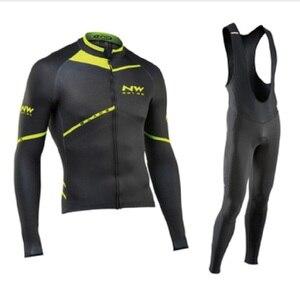 Image 1 - NW 2019 nefes bisiklet giyim seti Northwave uzun kollu yaz Jersey erkek takım elbise açık sportif bisiklet MTB giyim yastıklı