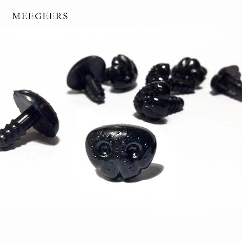 100Pcs Negro narices de seguridad para Perro Gato Animal Peluche haciendo Craft Con Arandelas